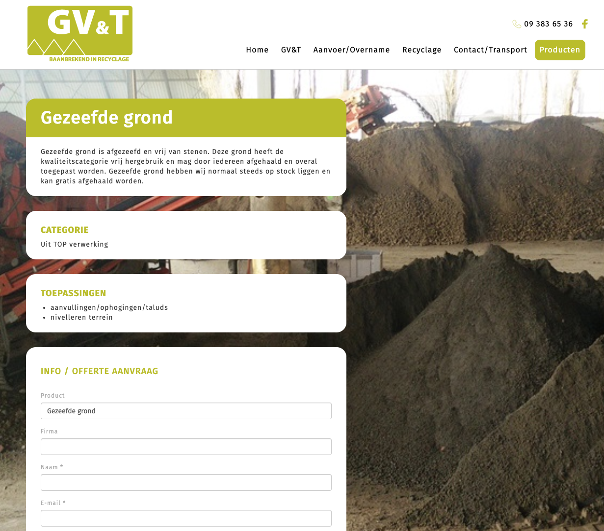 GV&T - Baanbrekend in recyclage productpagina